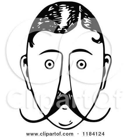 Vintage Mustache Man Clipart.