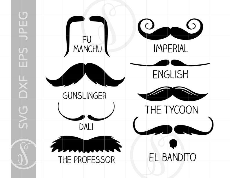 Mustache Styles Svg Cut File Clipart Downloads.