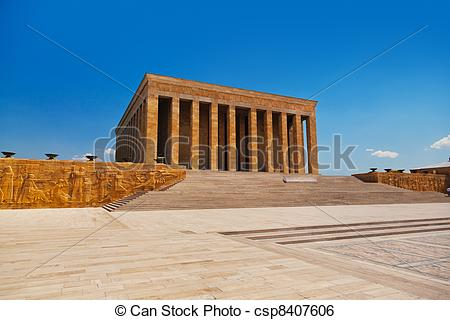 Stock Image of Mustafa Kemal Ataturk mausoleum in Ankara Turkey.
