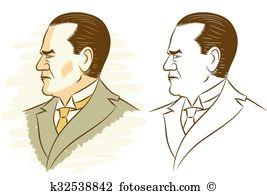 Mustafa kemal ataturk Clip Art Illustrations. 4 mustafa kemal.