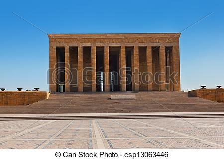Stock Photo of Mustafa Kemal Ataturk mausoleum in Ankara Turkey.