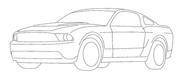 Black White Ford Mustang Stock Illustrations.