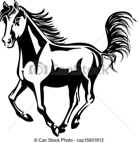 Horse Line Drawings Clip Art.