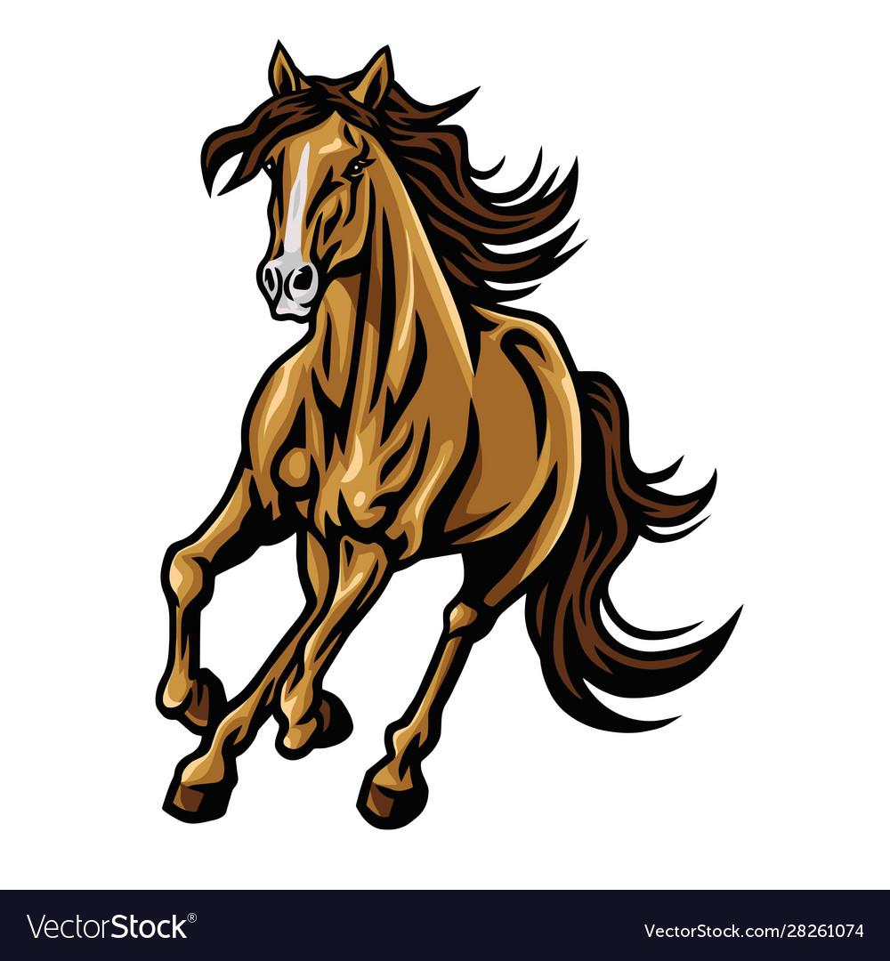 Mustang horse running mascot logo design.