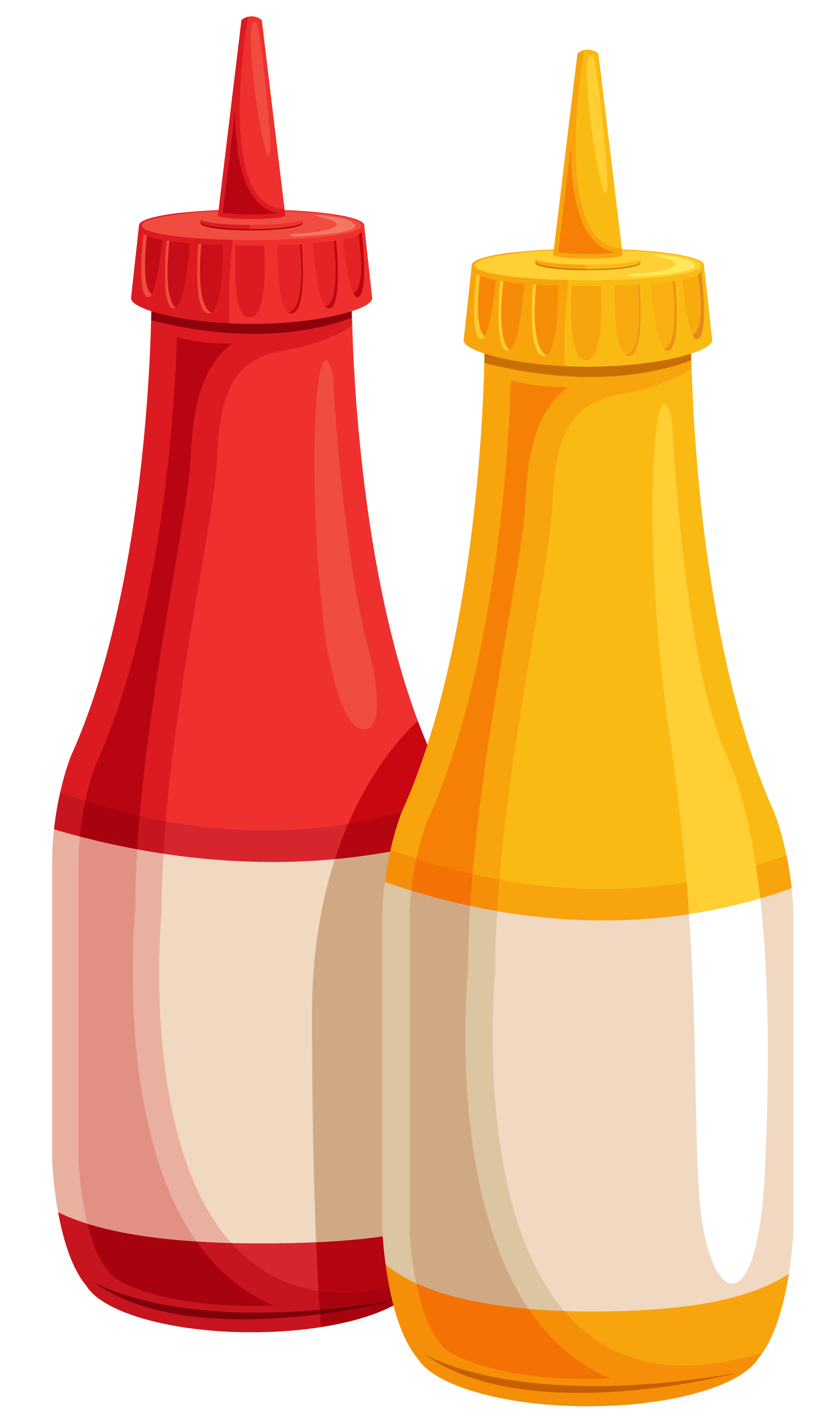 Ketchup and Mustard Bottles PNG Clipart Image.