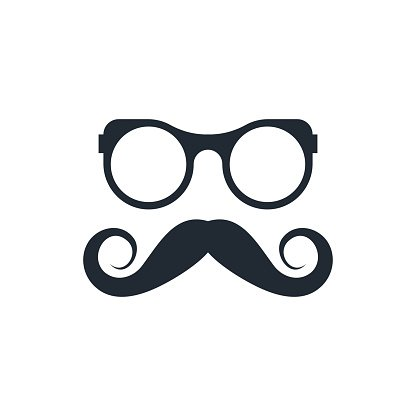 hipster mustache and glasses icon Clipart Image.