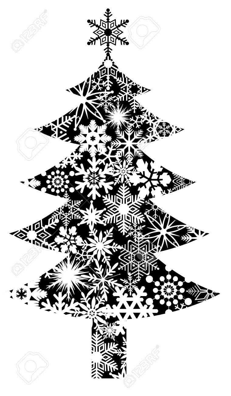 Weihnachtsbaum Mit Schneeflocken Muster Clipart Illustration.
