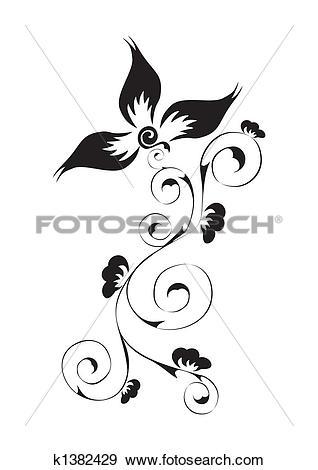 Clip Art of swirl floral pattern k1382429.