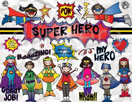 Fantastic super hero clipart by DJ Inkers.