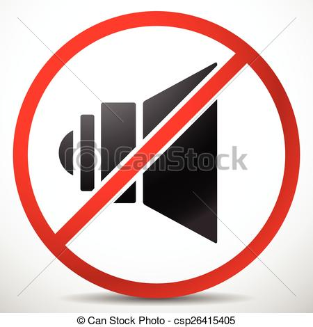 Vector Clipart of Speaker with Prohibition Sign. Mute, No Sound.