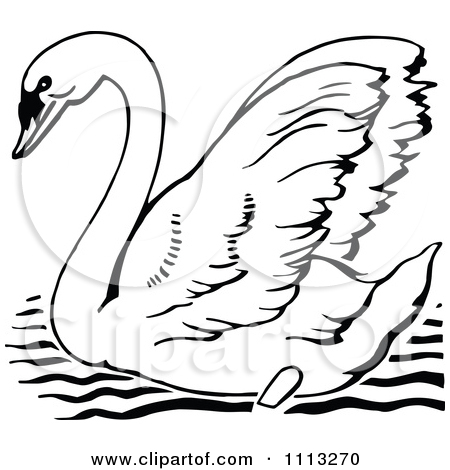 Clipart of a Cartoon Happy Mute Swan Playing an Electric Guitar.