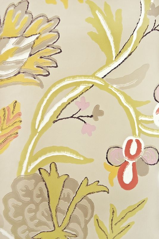 Cayman Floral Wallpaper Light Taupe wallpaper with exotic floral.