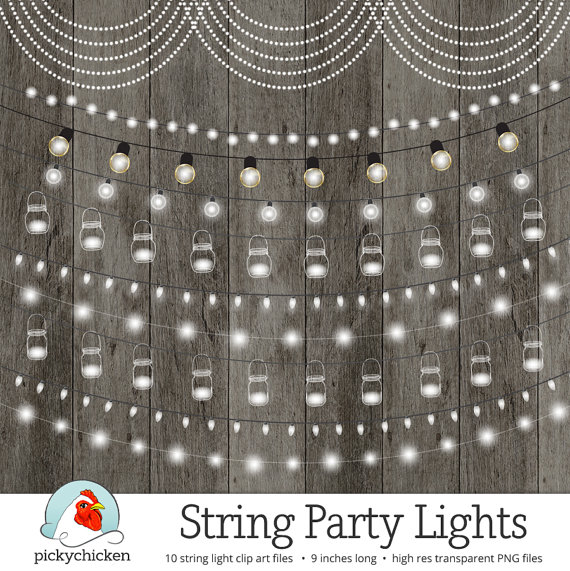 String Lights Clipart, Fairy Lights, Chalkboard Party Lights.