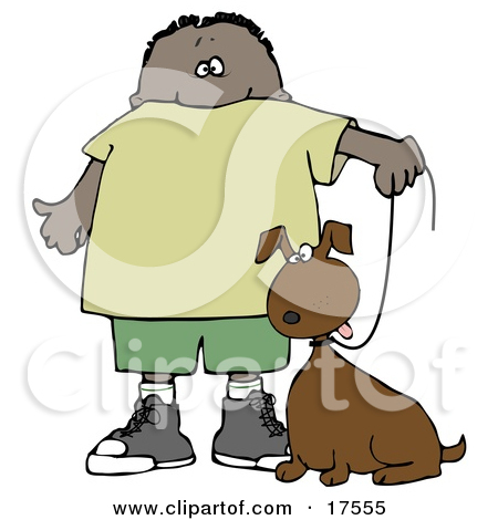 Clipart Illustration of a Little Hispanic or African American Boy.