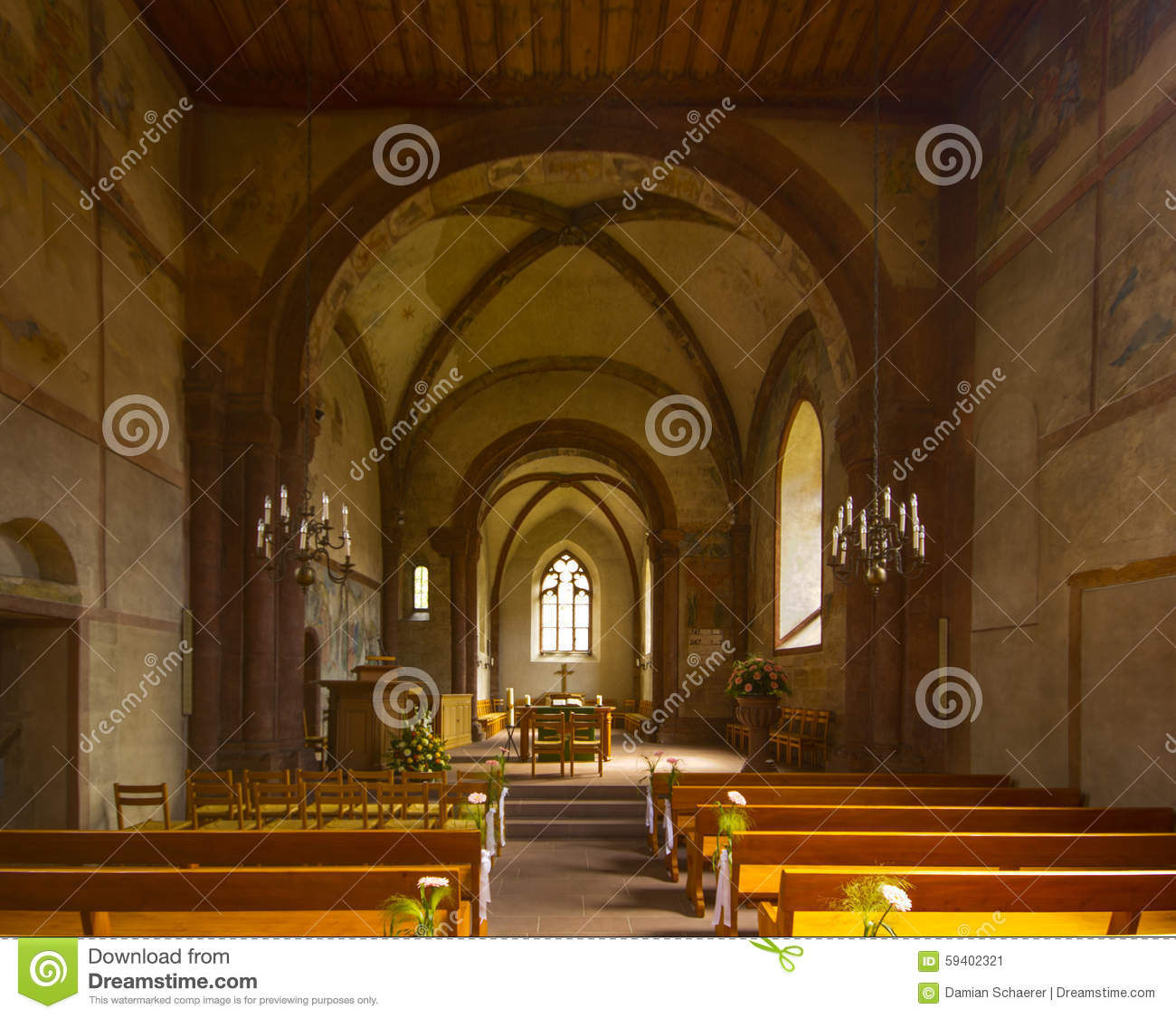 Fortified Church Of St Arbogast In The Village Muttenz Stock Photo.