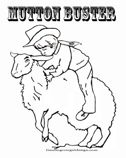Mutton Buster Rodeo Coloring Page Free Printable.