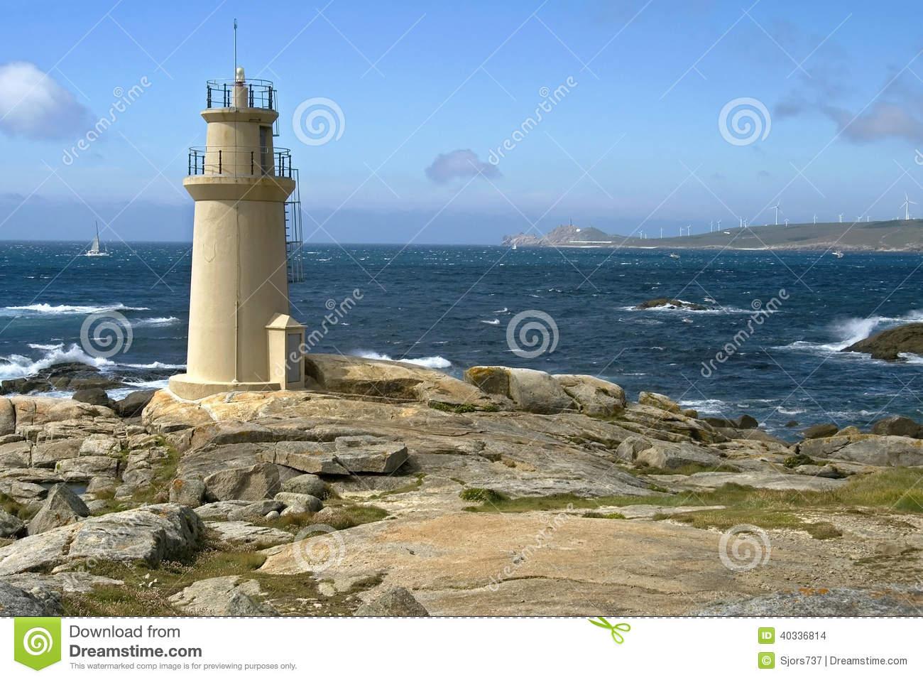 Lighthouse At The Atlantic Ocean, Muxia, Spain Stock Photo.