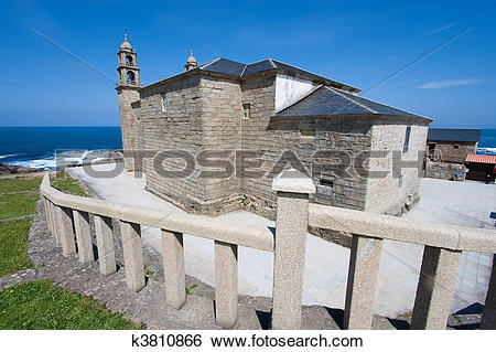 Stock Images of Church of Muxia, La Coru?a, Galicia, Spain.