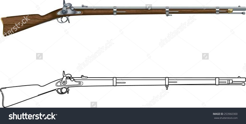 American Civil War Springfield Muzzle Loader Stock Vector.