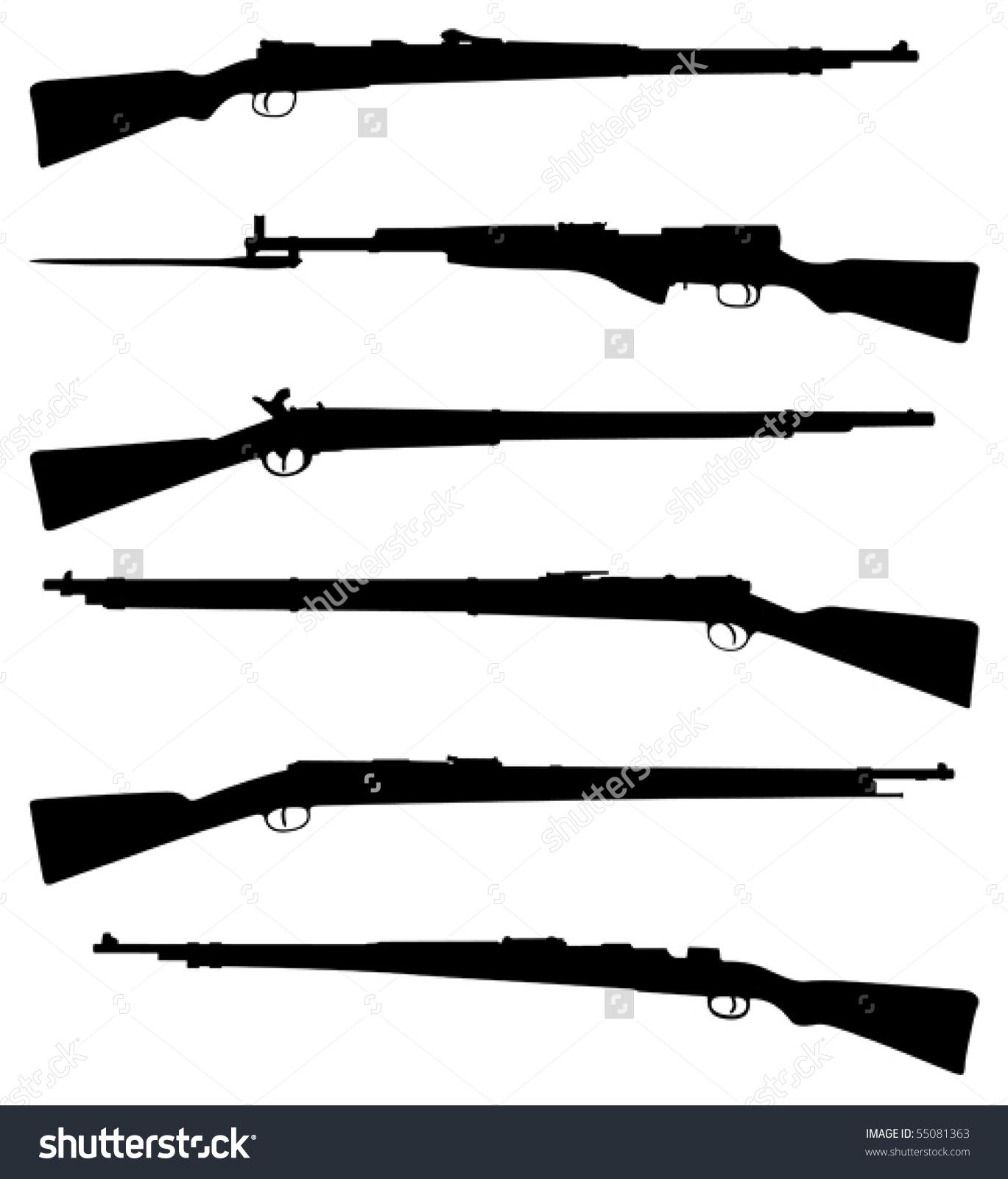 Six Old Shotguns Black On White Detailed Silhouettes Stock Vector.