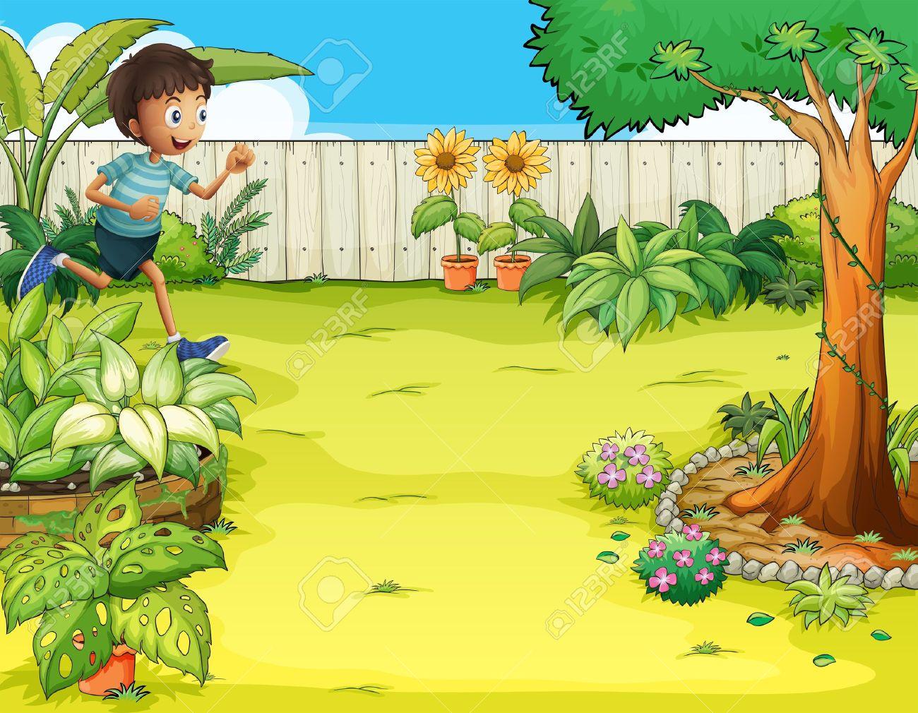 Illustration Of A Boy Running At The Backyard Royalty Free.
