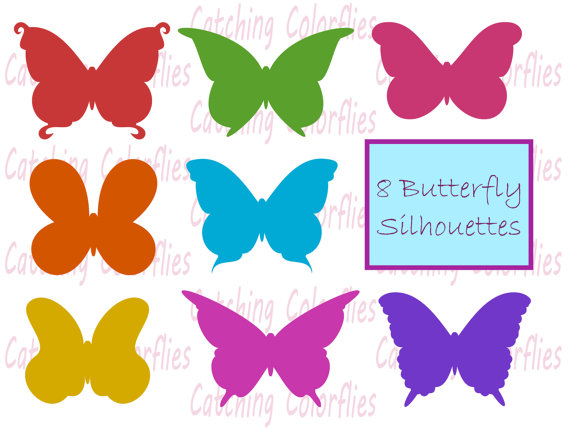 Butterfly Silhouette Clipart Clip art, Instant download Butterfly.
