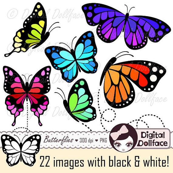 Butterfly Clip Art, Monarch Butterfly Printable, Insect Clipart by.