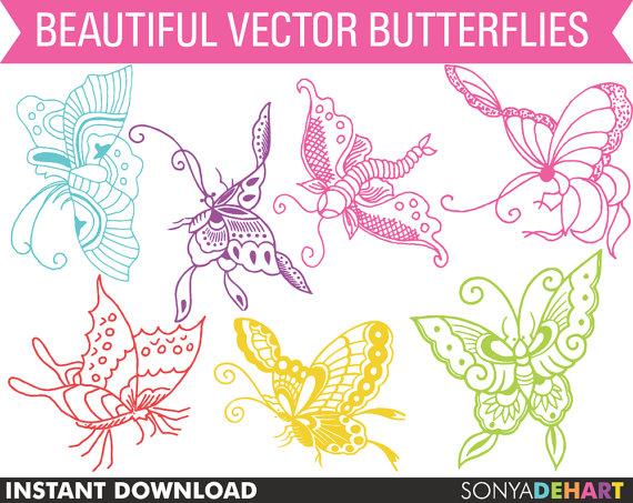 80% OFF Sale Butterfly Clipart, Clipart Butterflies, Digital.