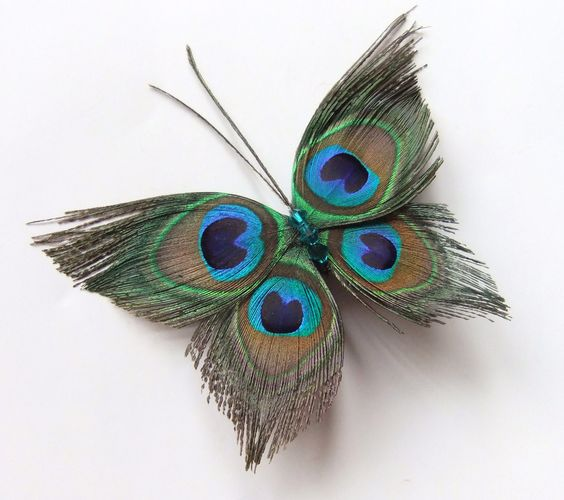 Butterfly Peacock Wedding Hair Clip Accessory, Peacock Feather.