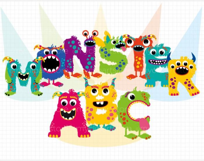 Clip Art Fun Monster Abc Alphabet Myclipartstore Vector.