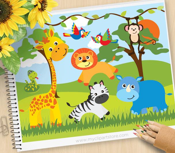 Safari Animals Clipart.