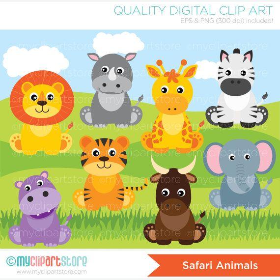Safari Animals Clipart, lion, giraffe, rhino, hippo, zebra.
