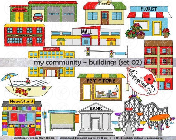 My Community Buildings (Set 02) Clipart: (300 dpi transparent png) School  Teacher Clip Art Creative Writing Florist Pet Store Mechanic.