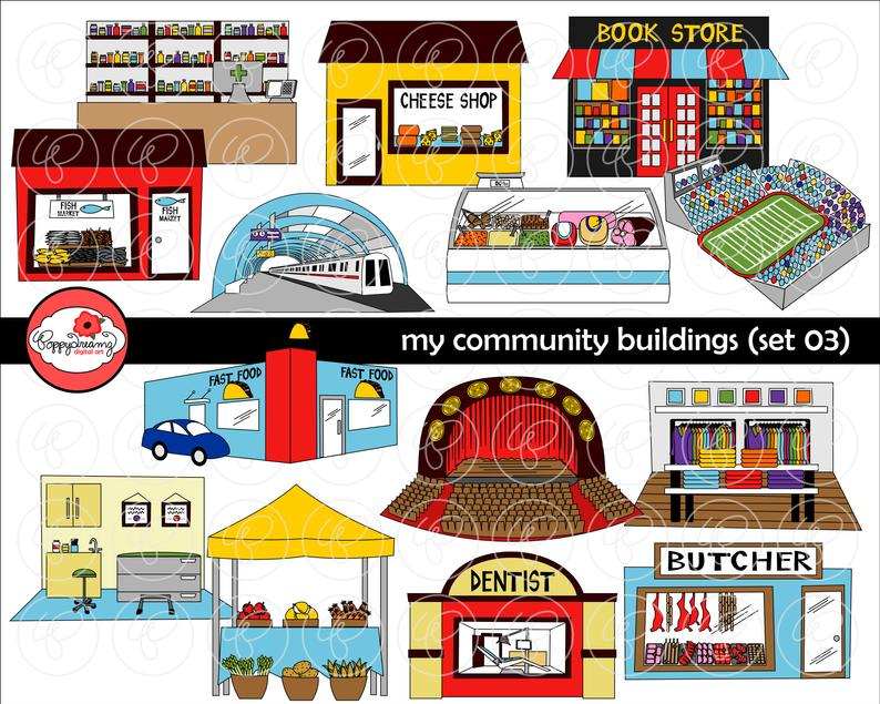 My Community Buildings (Set 03) Clipart: (300 dpi transparent png) School  Teacher Clip Art Creative Writing Subway Theater Dentist Boutique.