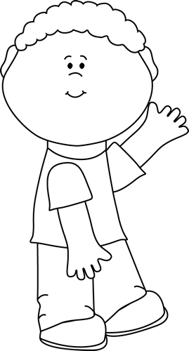 Black and White Boy Waving Clip Art.