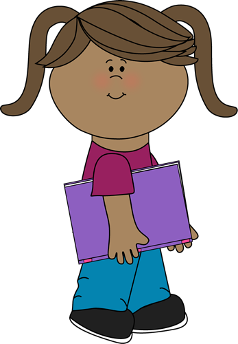 Girl with a school book from MyCuteGraphics.