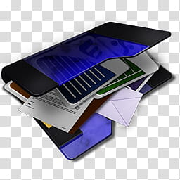Dark Blue My Documents Icon, black and blue folder with.