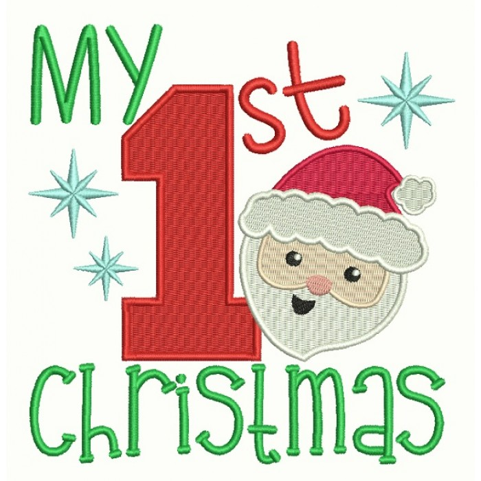 My First Christmas Santa Birthday Filled Machine Embroidery Design  Digitized Patter.