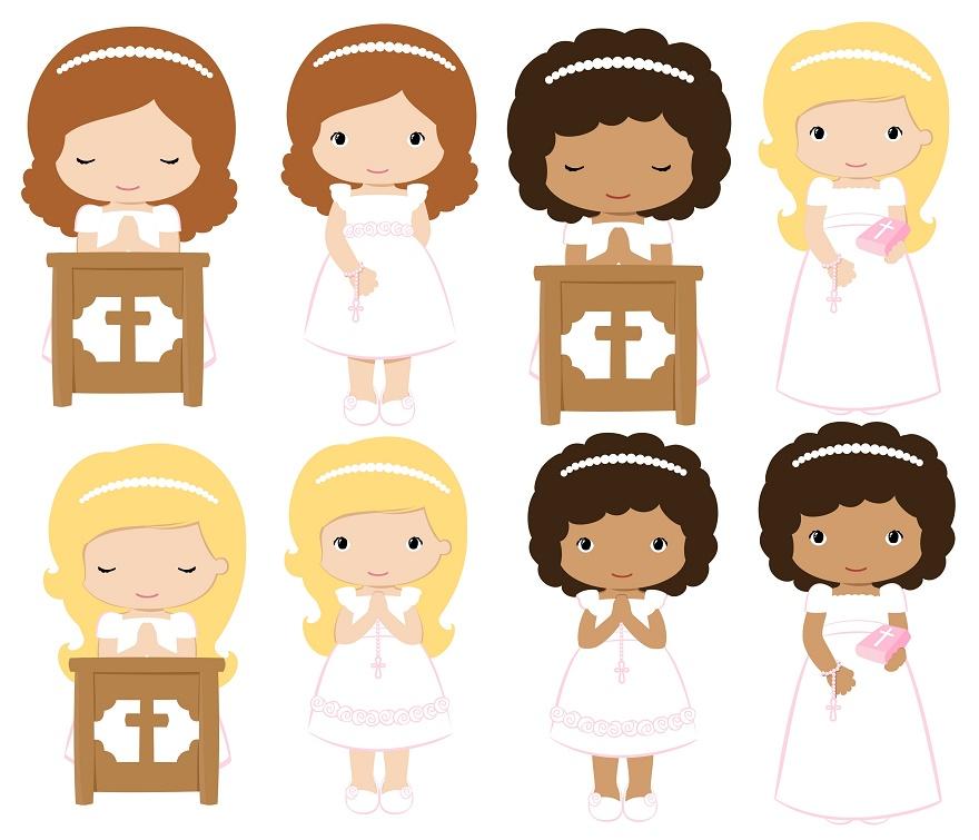 Girls in their First Communion Clip Art..