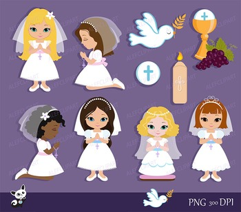 My first Communion Clipart for Girls. Digital clipart..