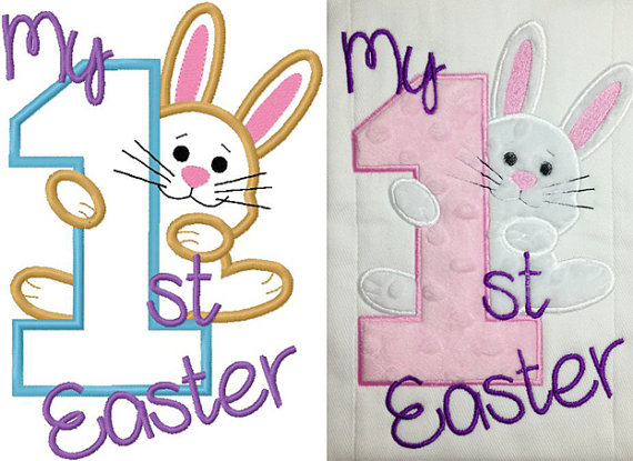 My first easter bunny embroidery applique design digital.