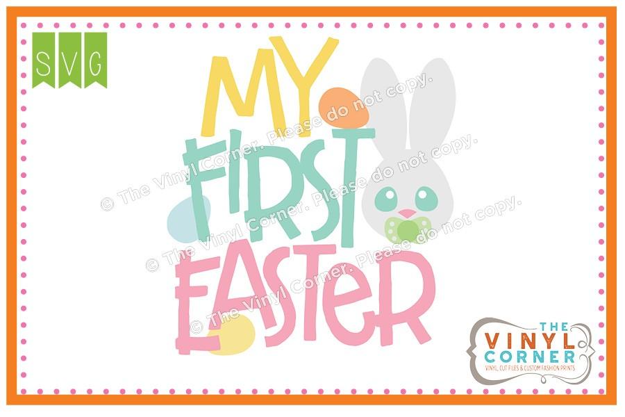 Applique Corner My First Easter SVG Clipart Design.