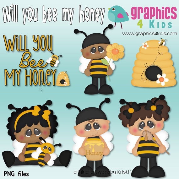 Will you bee my honey Valentine Digital Clipart by Graphics4kids.
