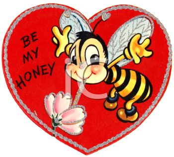 Royalty Free Clipart Image: Retro Valentine's Day Card with a Bee.