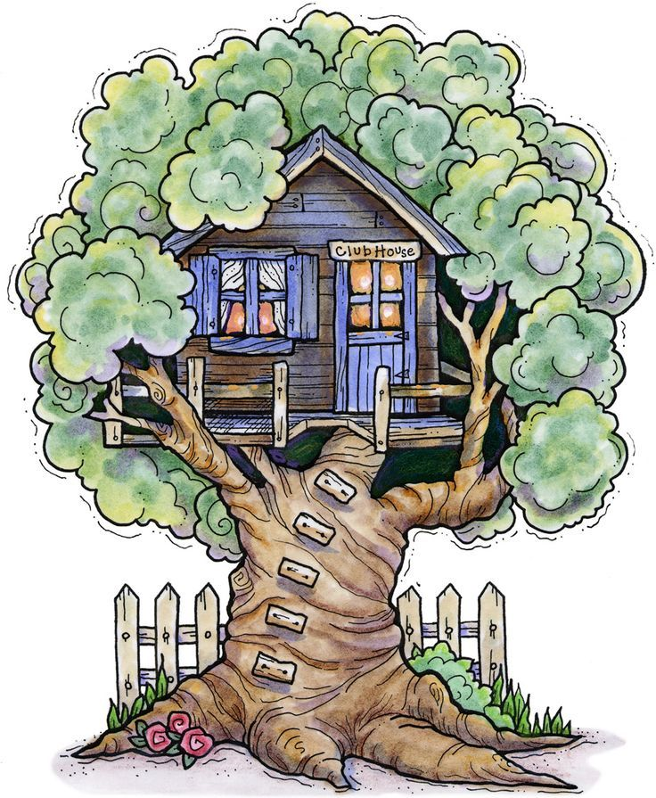Child Tree House Signs Clipart.