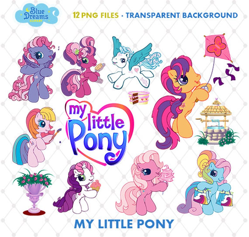 My Little Pony Clipart, PNG Clip Art Files, My Little Pony Printable  Images, Digital Download, Scrapbook, Transparent Background, Blue.