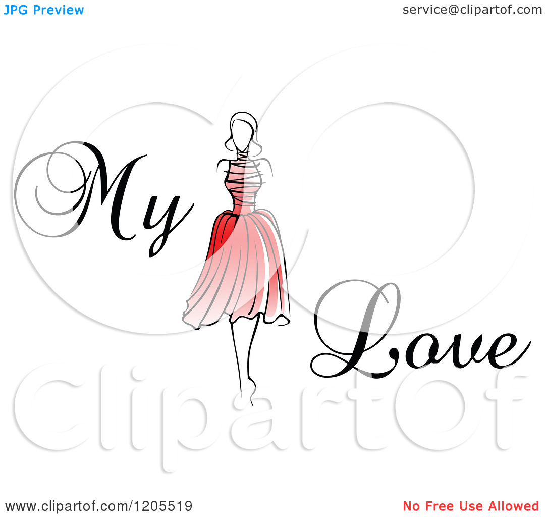 Clipart of My Love Text with a Woman in a Red Dress.