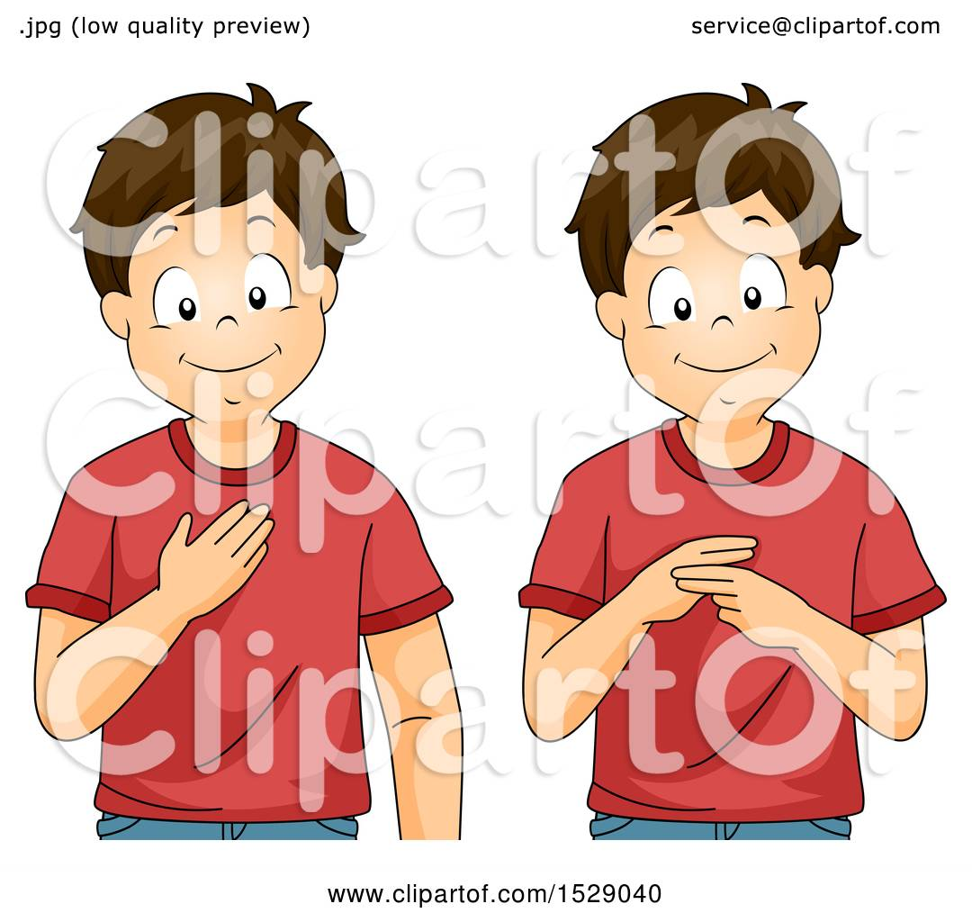 Clipart of a Boy Saying My Name in Sign Language.