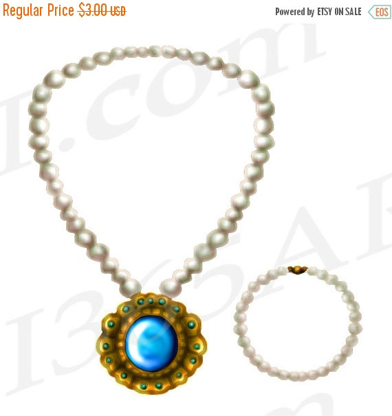 50% OFF Sale Jewelry Clipart, Jewelry Clip art, Pearl Necklace.