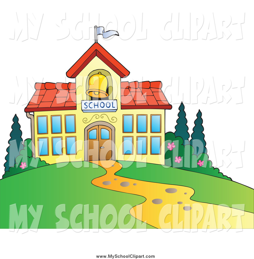 Clip Art of a School Building and a Bell Tower by visekart.